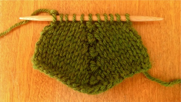 Example of the Purl Three Together Decrease (p3tog) on stockinette