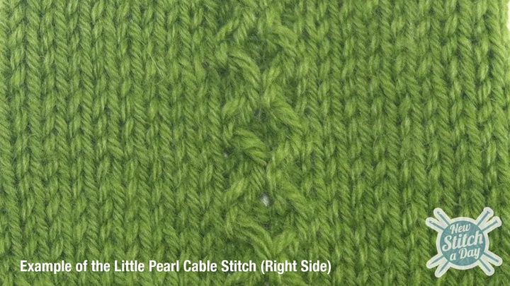 Example of the Little Pearl Cable Stitch Right Side