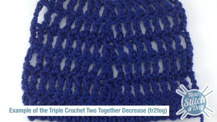 Example of the Triple Crochet Two Together Decrease (tr2tog)