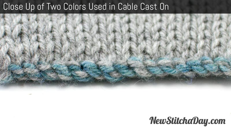 Example of the Two Color Cast On for Double Knitting