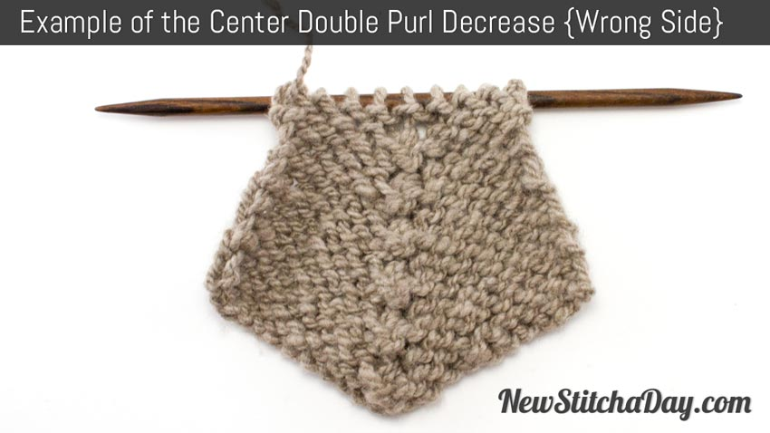 Example of the Center Double Purl Decrease Left Side