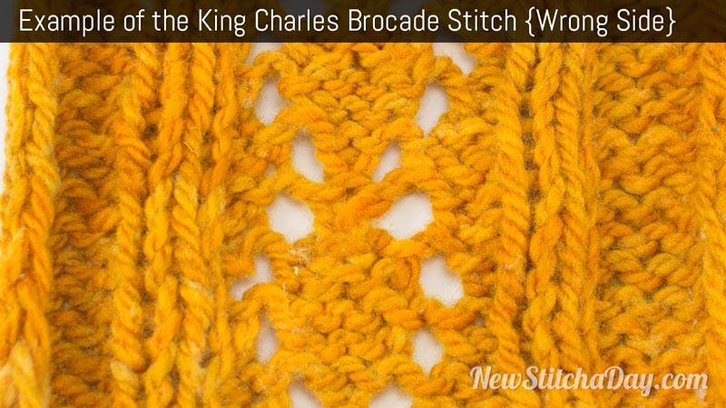 Example of the King Charles Brocade Stitch. (Wrong Side)
