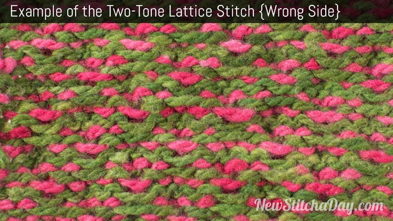 Example of the Two Tone Lattice Stitch. (Wrong Side)