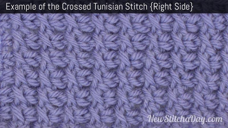 Example of the Crossed Tunisian Stitch. (Right Side)